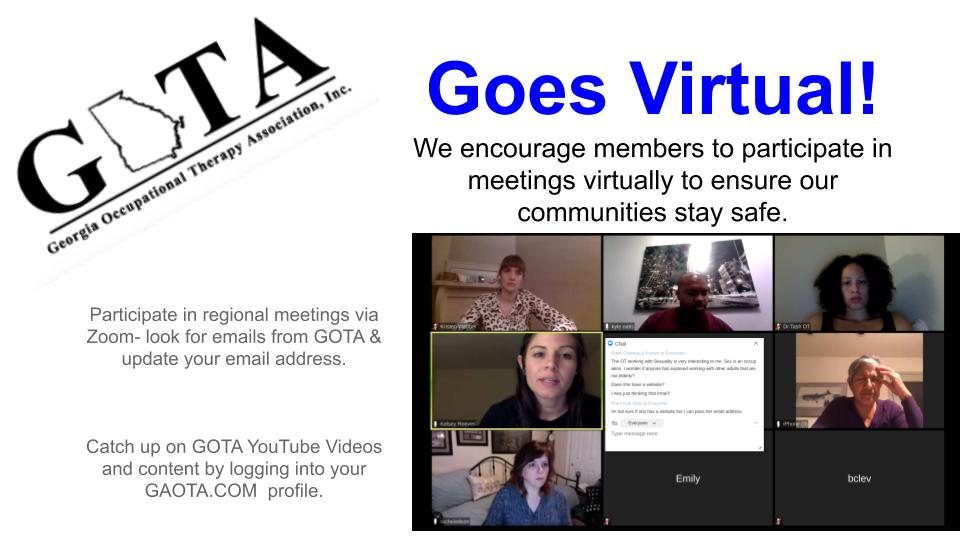 Image of a Zoom meeting with members engaging. Text around images states: GOTA Goes Virtual! Engage with GOTA virtually to ensure our communities stay safe. Update your email address to ensure you get Zoom invites and checkout the GOTA Youtube Channel by logging into gaota.com